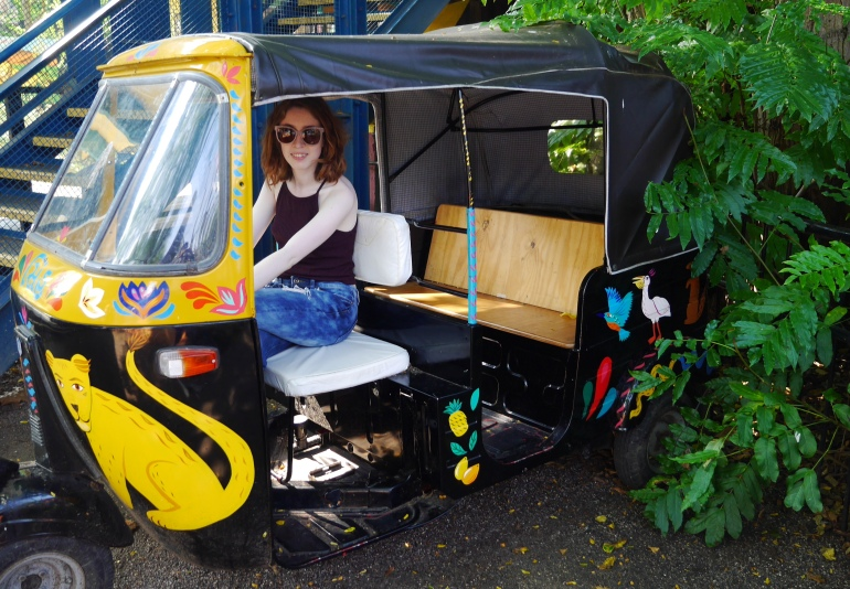 Blogger on Tuk Tuk