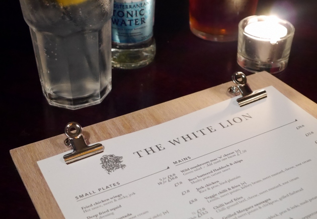 The White Lion Finsbury Park Menu