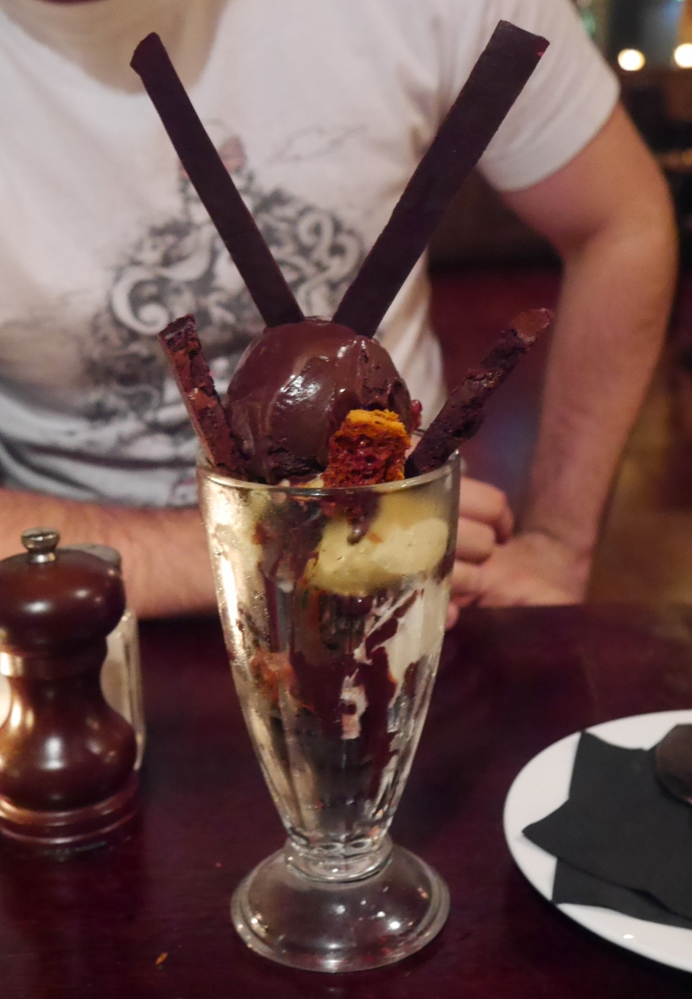Chocolate Brownie Sundae at the White Lion