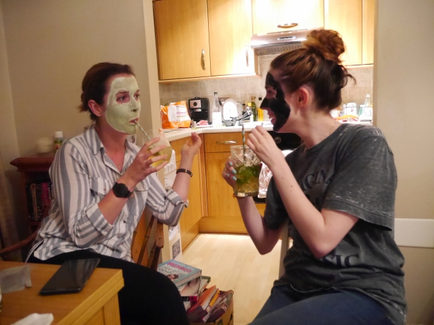 Bloggers in facemasks
