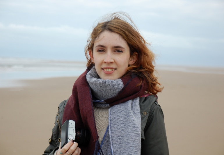 Blogger on Holkham Beach