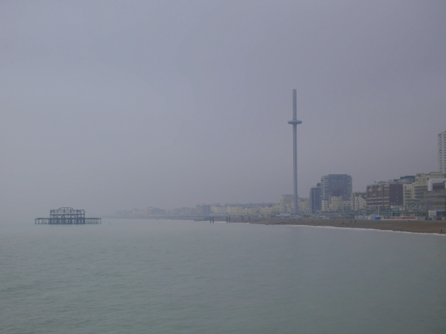 Foggy view from Brighton Pier