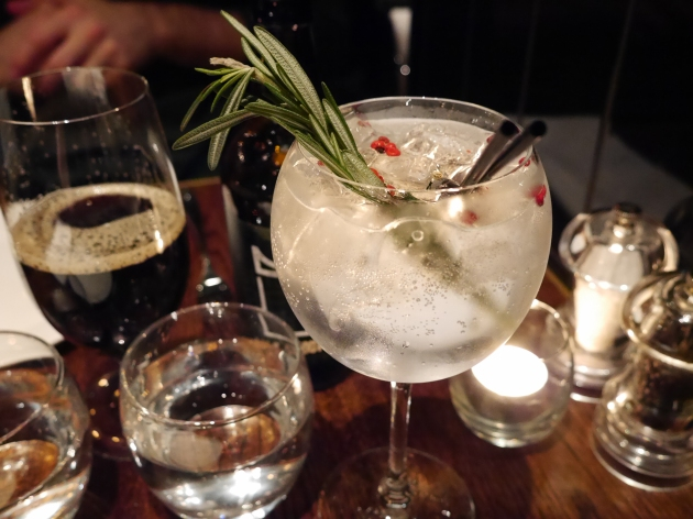 Pink peppercorns & rosemary gin and tonic at Coal Shed