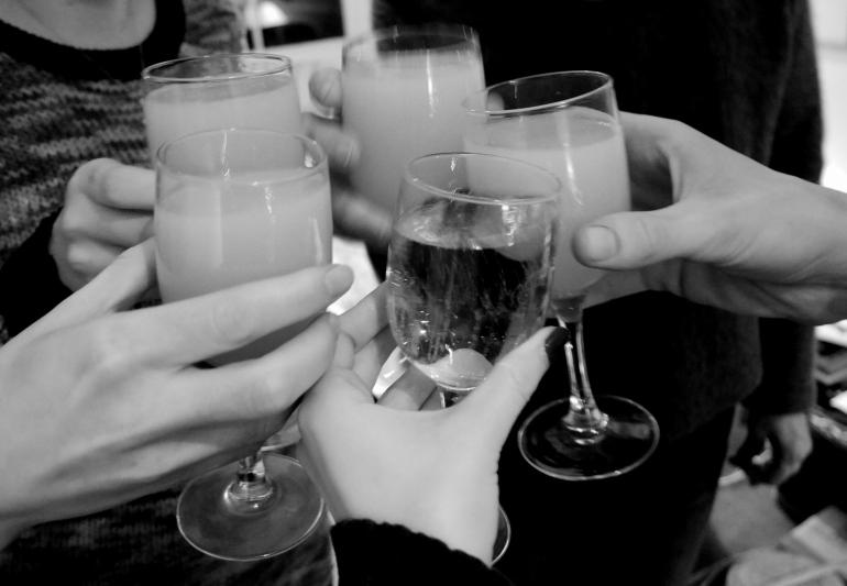 Champagne Cheers B&W