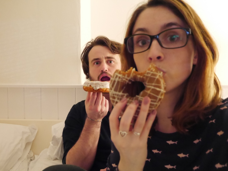 Blogger and Boyfriend with Doughnuts