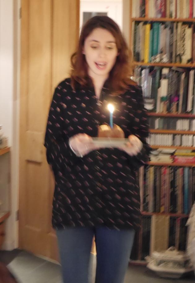 Blogger singing Happy Birthday