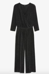 Monki Glittery wrap jumpsuit