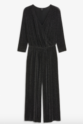 Monki Glittery wrap jumpsuit
