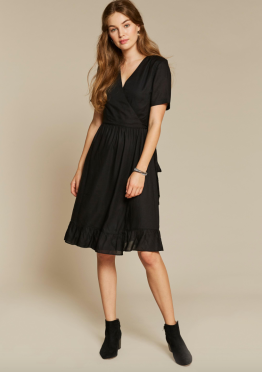 FatFace Women's black wrap dress