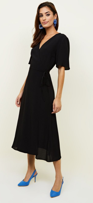 New Look Black Wrap Front Midi Dress