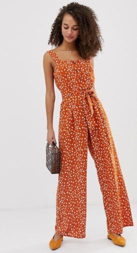 Miss Selfridge soft printed pinny jumpsuit