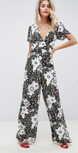 ASOS DESIGN tea jumpsuit in mixed floral print