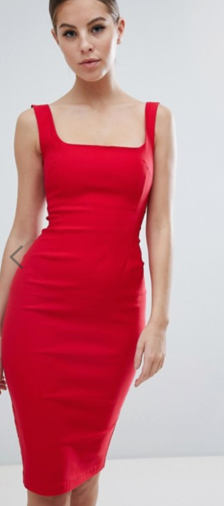 Vesper square neck pencil dress in red