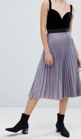 Bershka pleated metallic skirt