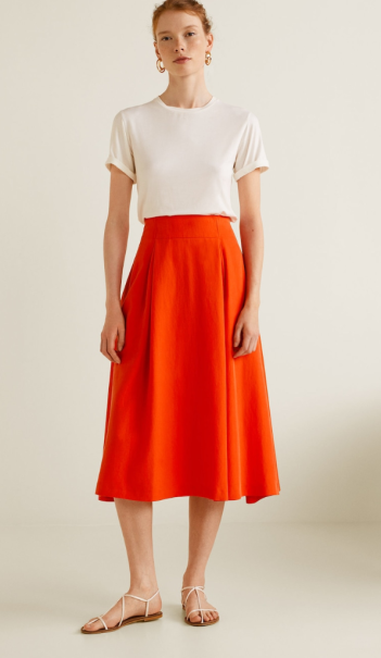 Mango Pleated midi skirt