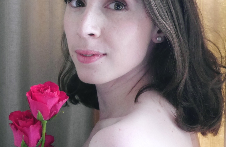 Blogger Posing with Roses