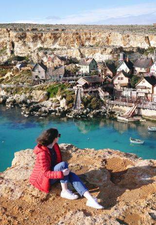 Blogger overlooking Popeye Village